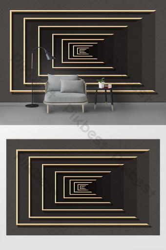 الحد الأدنى الحديثة الإبداعية 3d ستيريو هندسية الحديد المطاوع التلفزيون خلفية الجدار الديكور والنموذج قالب PSD
