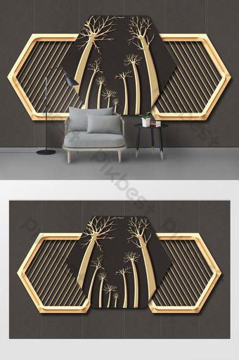 الحديث بسيط ثلاثي الأبعاد الحديد المطاوع الذهبي نافذة شجرة التلفزيون خلفية الجدار الديكور والنموذج قالب PSD