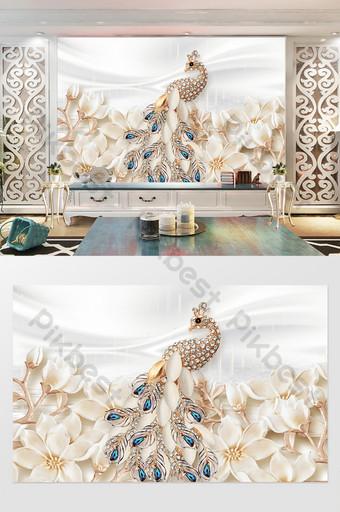 3d gorgeous flower sea jewelry diamond gemstone peacock white silk background wall Decors & 3D Models Template PSD