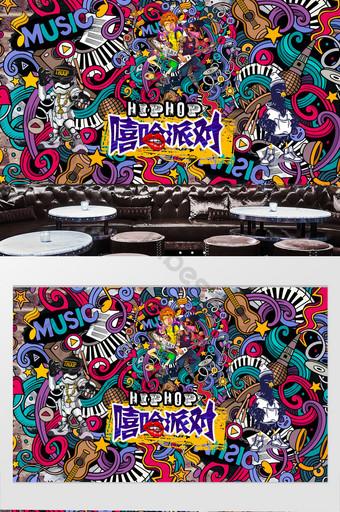 pared de fondo de música hip hop estilo graffiti Decoración y modelo Modelo PSD