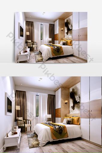 الاداءات غرفة نوم رئيسية اليابانية الديكور والنموذج قالب MAX