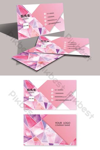 Carte de visite de mariage de beauté de magasin de détail aquarelle rose de mode Modèle AI