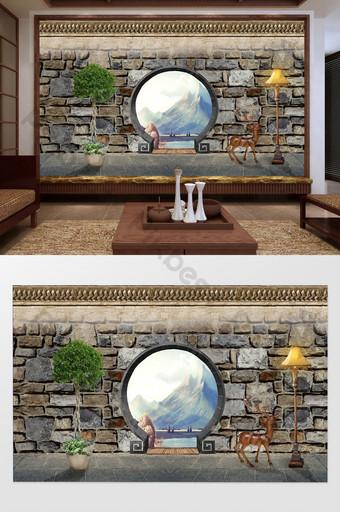النمط الصيني قوس الحجر جدار المشهد النفط اللوحة زخرفة خلفية المنزل التخصيص الديكور والنموذج قالب PSD