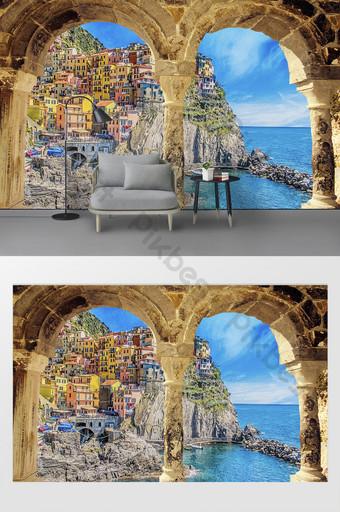 Ang European at American arched outdoor oil painting na pader sa background ng landscape ng isla Karapat-dapat sa Modelo at 3D Template PSD