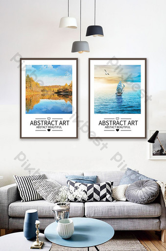 european modern abstract oil painting landscape sea combination american decorative Decors & 3D Models Template PSD