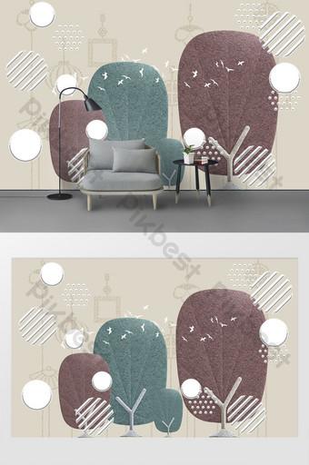 الحديث ثلاثي الأبعاد حزمة لينة هندسية جميلة صورة ظلية شجرة خلفية الجدار الديكور والنموذج قالب PSD