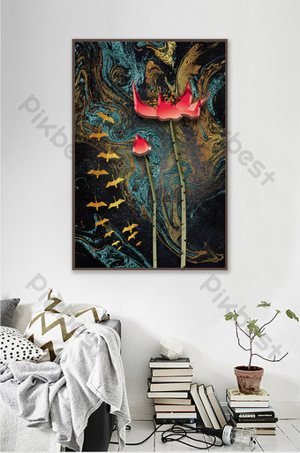 中國風紋理意境荷花山水裝飾畫 裝飾·模型 模板 PSD