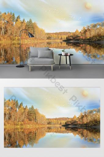 Mur de fond TV paysage peinture à l'huile de conception artistique esthétique moderne Décoration et modèle Modèle PSD