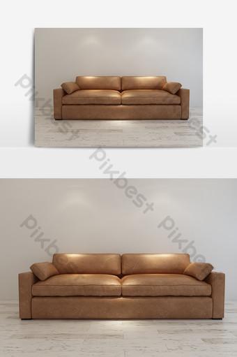 نموذج أريكة جلدية بسيطة الديكور والنموذج قالب MAX