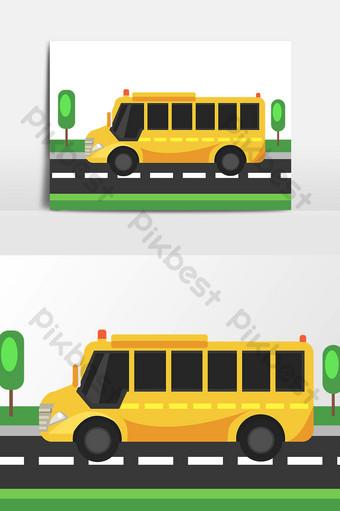 dibujado a mano ilustración de autobús escolar amarillo de dibujos animados Elementos graficos Modelo AI