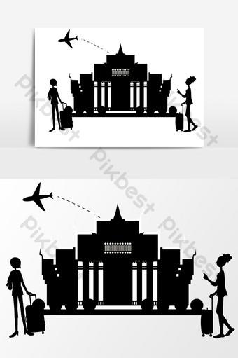 مرسومة باليد مباني المدينة صورة ظلية عناصر التصميم صور PNG قالب AI