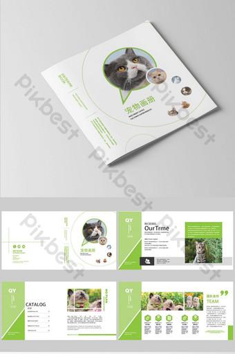 أسلوب بسيط مجموعة الضوء الأخضر من تخطيط تصميم كتيب متجر الحيوانات الأليفة قالب AI