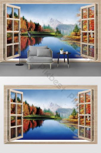 современные трехмерные двери и окна красивые пейзажи картина маслом фон украшения стен настройки Украшение и модель шаблон PSD