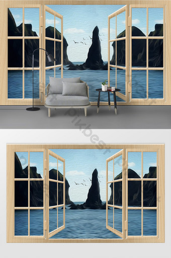 modern three-dimensional doors and windows sea qishan oil painting background wall decoration customization Decors & 3D Models Template PSD