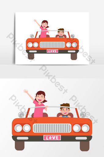 زوجين يقودان للسفر في شهر العسل الكرتون مرسومة باليد ناقلات العناصر صور PNG قالب AI