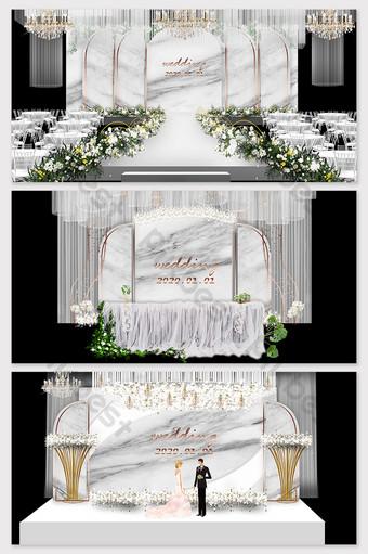 الحد الأدنى الحديثة الرخام الأبيض الزفاف خلفية التلفزيون جدار الديكور والنموذج قالب PSD