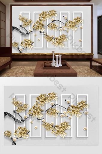 新中式簡約時尚金色花枝立體梅花軟包背景牆 裝飾·模型 模板 PSD