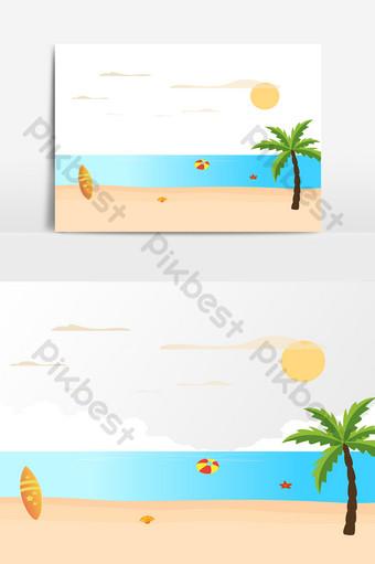 عناصر شجرة جوز الهند الشاطئ الصيف صور PNG قالب AI