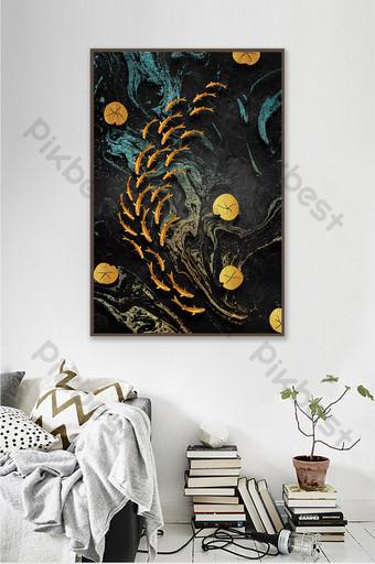 nueva pintura decorativa de loto de escuela de peces de textura de relieve dorado chino Decoración y modelo Modelo PSD