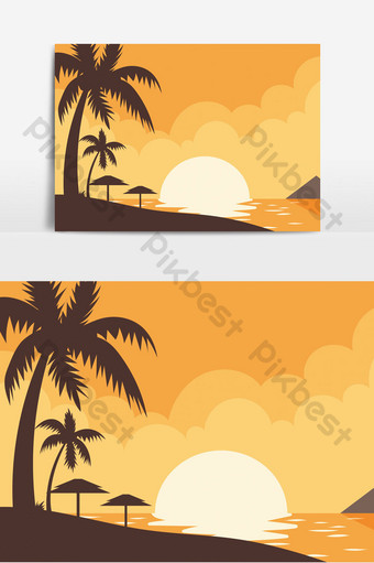 seaside coconut tree dusk silhouette element PNG Images Template PSD