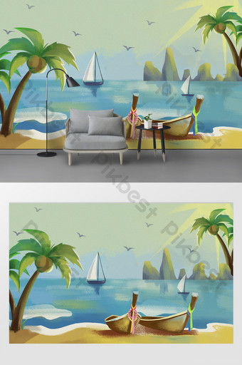 Modern and fresh oil painting, coconut tree, sea, boat, sun, bird, television Decors & 3D Models Template PSD