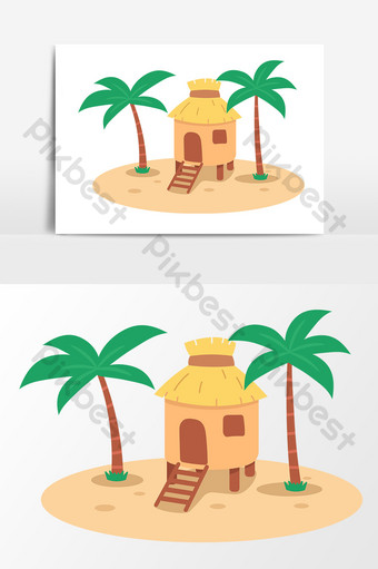 summer seaside beach hut cartoon drawing vector elements PNG Images Template AI