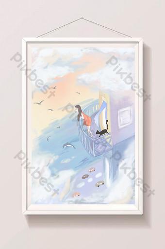 beautiful and fresh girl on the seaside balcony little black cat illustration Illustration Template PSD