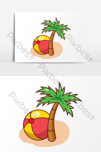 Phim hoạt hình vector cây dừa và bong bóng bằng tay Công cụ đồ họa Bản mẫu AI