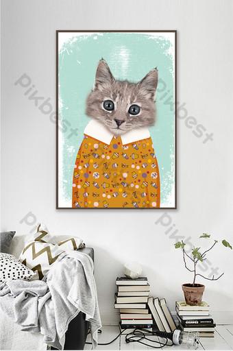 lucu kartun kecil hewan kucing segar kamar anak-anak lukisan dekorasi lorong Dekorasi dan model Templat PSD