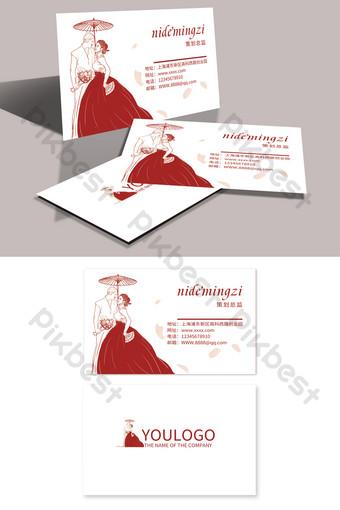 Carte de visite de caractère simple étiquette de planification de mariage rouge Modèle PSD