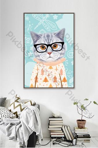 kamar anak-anak kucing kartun hewan lucu segar lukisan dekoratif kreatif Dekorasi dan model Templat PSD