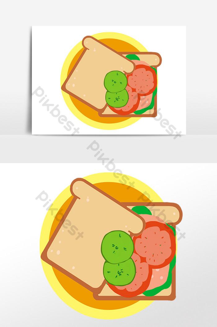 パンイラスト素材の手描きグルメ食品スライス グラフィック要素
