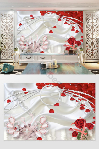 3d joyería seda diamante cisne perla rosa roja tv fondo pared Decoración y modelo Modelo PSD