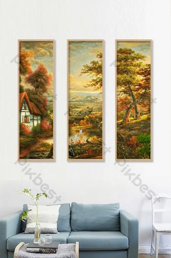 الشمال وحة زيتية المناظر الطبيعية الخريف الأشجار منزل الديكور خلفية الجدار الديكور والنموذج قالب TIF
