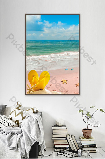 3D seagull starfish blue sea wave beach decoration painting Decors & 3D Models Template PSD