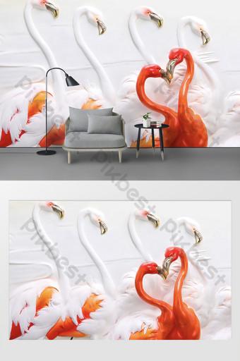 الشمال نمط الحد الأدنى الحديثة 3D تنقش جدار خلفية التلفزيون فلامنغو الديكور والنموذج قالب PSD