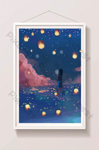 fresh dreamy beautiful girl at night sea and river lights illustration Illustration Template PSD