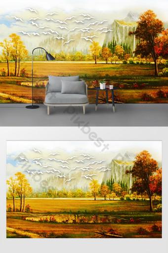 lanskap modern yang indah lukisan minyak dinding latar belakang tv Dekorasi dan model Templat PSD