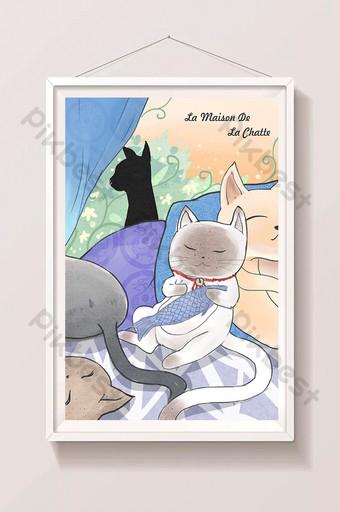 Carte postale de carte postale de chat mignon fille fraîche belle illustration Illustration Modèle PSD