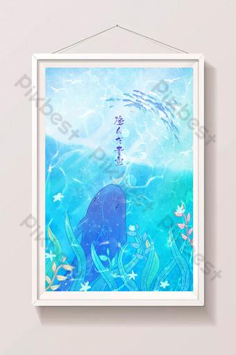 ilustración hermosa de las algas marinas del verano de la ballena Ilustración Modelo PSD