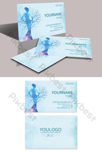 Carte de visite d'étiquette de mariage de maquillage de beauté bleue Modèle PSD