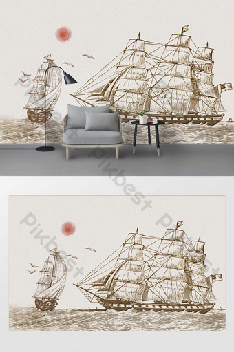 modern minimalist drawing sea sailing seagull sun background wall decoration Decors & 3D Models Template PSD