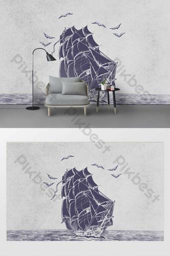 modern minimalist drawing sea sailing seagull background wall decoration customization Decors & 3D Models Template PSD
