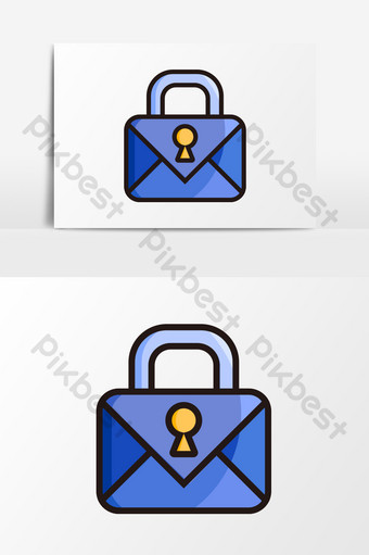cartoon flat network information security mail encryption element PNG Images Template AI
