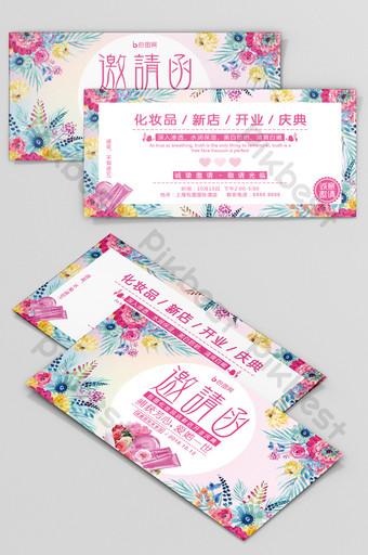 Lettre d'invitation à la nouvelle cérémonie d'ouverture de Beautiful Flower Cosmetics Modèle PSD