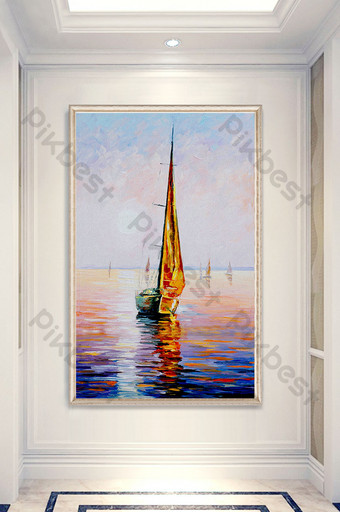 Smooth sailing porch decorative painting oil European Nordic sea Decors & 3D Models Template PSD