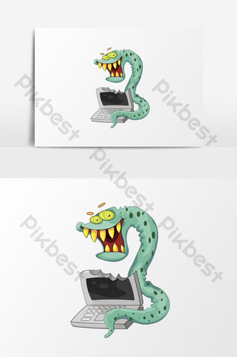 cartoon flat network information security worm virus element PNG Images Template AI