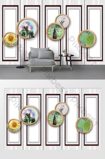 中式木紋三維圈植物花卉大理石軟包背景牆 裝飾·模型 模板 PSD