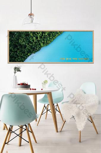 الشمال مجردة اللوحة الزخرفية المناظر الطبيعية الخضراء البحيرة الزرقاء خلفية الجدار الديكور والنموذج قالب TIF