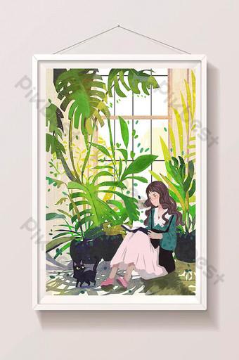 Fille de plantes vertes fraîches lisant illustration de carte de voeux de fenêtre de chat mignon pour animaux de compagnie Illustration Modèle PSD